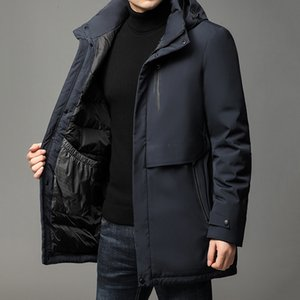 2021 New Brand Casual Fashion Luxury Designer Men Black Down Winter Coat Long Parka Windbreaker Bubble Jacket Mens Clothing Y1120