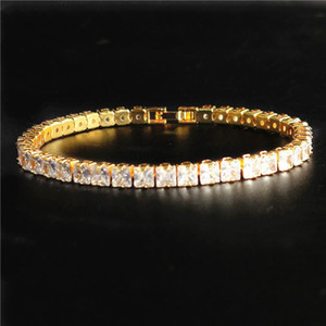 5mm Tennis Chain Men's Hip hop Bracelet Jewelry Rhinestone Cuban Link Anklet Bracelet Rapper Bling Cuban Chain Iced Out Anklet Jewelry 20cm