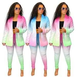 Gradienten Womens Anzug Separater Bürokleidung Business Jacke Blazer und Hosen Leggings Set Button Mantel Für Frühling Sommerkleidung NK203