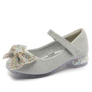 Girls Shoes Kids Shoes Crystal Bowknot High-Heeled Shoes Princess Children Dress Shoe Spring Autumn Girls Footwear B4071