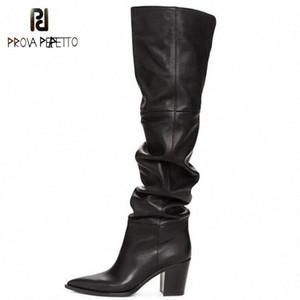 Prova Perfetto Black Over the Knee Boots Pointed Toe Chunky Tacchi Scarpe Zipper Morbido Ginocchio Stivali Alti Donne Botines Mujer 2019 I9vk #