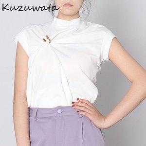 Kuzuwata Chic Button Irregular Diseño Plisado T Shirt 2021 Verano Nueva Moda Camiseta Soporte Sólido Collar T Shirts