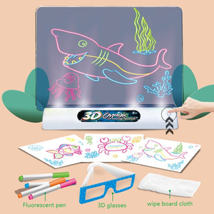 2021 New 3D fluorescent drawing board magic luminous stereo writing board graffiti board children's Holiday gift DHL