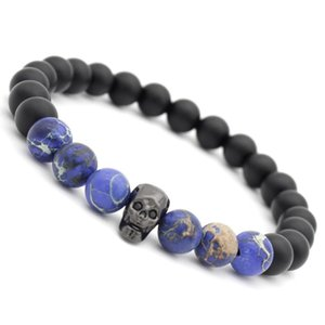 Beaded, Strands Exaggerated Personality Black Matte Skeleton Zircon Bracelet Natural Stones Beads Set Fashion Accessories Chain Men Bangle