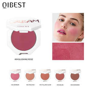 QIBEST Peach Cream Makeup Blush Palette Cheek Contour Blush Cosmetics Blusher Cream Korean Makeup Rouge Cheek Tint Blush