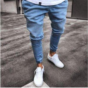 Mens Jeans 2021 Nouvelle Mode Jeans à glissière élastique serrée pour les hommes jeans plissés pour les hommes mince