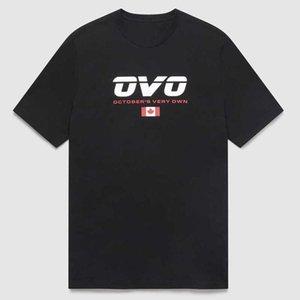 드레이크 ovo 캐나다 플래그 봄 여름 짧은 소매 티셔츠 랩퍼 인쇄 힙합 커플
