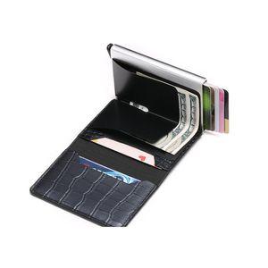 Bycobecy Cardholder Pocker RFID Кошелек Банк ID Держатель кредитной карты Кошелек Кожаные проходы Алюминиевая визитная карточка Case P JLLGRX