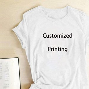 2021 Customized Print TShirts Woman Your Like Photo or White Top Tees Womens Clothes Cotton Tshirt Tee Shirt Femme
