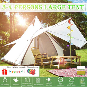 Outdoor Tents For Camping Yurt Tent 3-4persons Camping Tent Waterproof Family Style Pyramid Tipi
