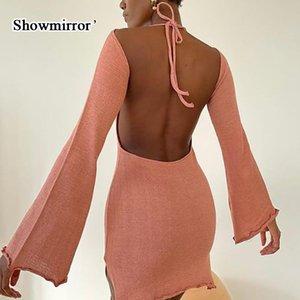 Vestidos casuales Showmirror 2021 Fall Halter Sexy V Cuello de espalda Mini vestido de respaldo Ropa para mujer Cumpleaños elegante de punto flare