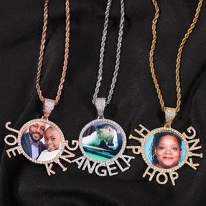 New Hip Hop Custom Name Jewelry Personality Picture Charms Necklace With Letter Iced Out Photo Pendant Necklace Men Accessories