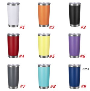 New fashion 20oz Drinking cup Tumbler with Lid Stainless Steel Wine Glass Vacuum Insulated cup Travel 18color sea shippingFWD4868