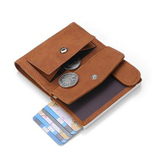 Dienqi Rfid Genuine Leather Men Wallets Card Holder Slim Thin Smart Magic Wallet Small Short Coin Purse Male 2020 Brow jllRMA