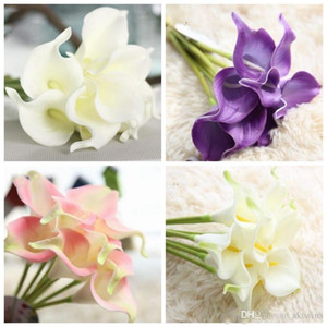 Artificial Flower PU Real Touch Mini Calla Lily Flowers Hotel Calla Lily Decorative Bouquet For Wedding Decorations 13 Colors XH1069