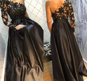 Black Evening Dresses One Shoulder Lace Applique Beaded Satin Custom Made 2021 New Prom Party Gown Floor Length Plus Size vestidos