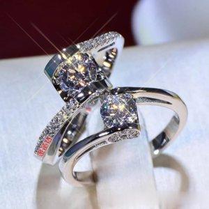 Mossan Stone Twisted Arm Angel Kuss 925 Silber Online Celebrity Ring Weibliche 50 Minuten plus Größe Hochzeit