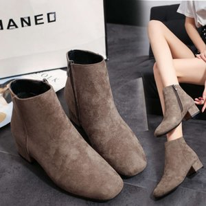 Autumn and winter new square head suede Martin thick middle heel short side zipper low tube women's boots
