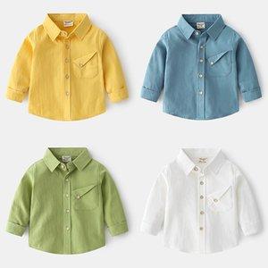 TX Korean Qaulity New INS Summer Kids Boys Long Sleeve Shirt Spring Pockets Soft Cotton Gentlemen Boys Tops