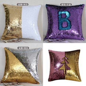 Sequin Pillow Covers Glitter Mermaid Cushion Covers Reversible Sequins Pillow Case Magical Color Home Decor 24 Styles 10pcs 235 S2