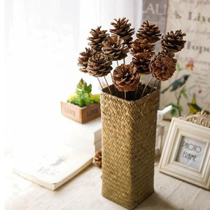 Pampas Grass Thinker Natural Dried Flowers Pine Cone with Iron Branch Acorn Flower for Christmas Home DIY Garland Wreath Hanging Decoration
