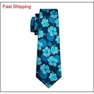 Cragliette da uomo in seta Cravatte Blue Tie Set Floral Mens Ties Tie Hanky Gemelli Set Jacquard Tessuto Meeting Business We Qylozs Bdehome