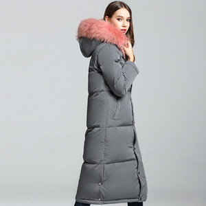 Monclair Women Grey black armygreen New Winter Jacket Big Real Raccoon Fur Hooded Thick White Duck Down Jackets Long Parka Female Coat