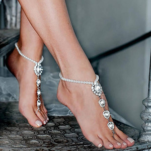 Boho Sandal Anklets Rhinestone Summer Beach Wedding Barefoot Iced Out Bling Crystal Imitation Pearl Bead Chain Anklet Foot Jewelry for Women