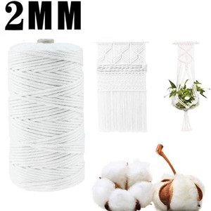 2mm 100M Colorful Beige Twisted Twine Cord Rope Cotton Macrame Cord Home Textile Thread Braided String Craft Wedding Decoration