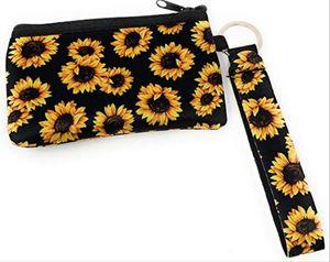 Neoprene Coin Waterproof ID Fashion Holder Wristlet Sunflower Mini Bags Wallets Printing Card Case Cover Passport Purse Handbag Tbcgf