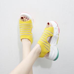 XPay Frauen Sandalen Mode Dicke Bodensandalen Frauen Komfortables Höhenkeile Schuhe flach mit Schuhen Sommer