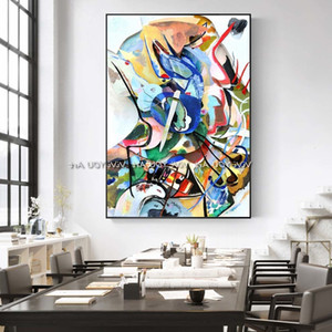 Professional mathematician's hand-painted art, Vasily Kandinsky's abstract art painting, wall painting art, home decoration