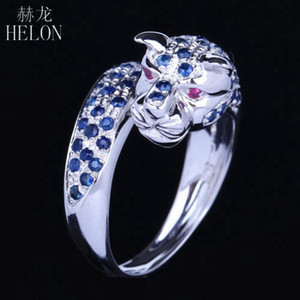 HELON Solid 10k White Gold Men Jewlery Natural Sapphire & Ruby Engagement New Design Ring Animal Stylish Jewelry Leopard Band
