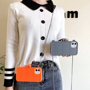 Fashion knitted Sweater Shape Crossbody Chain Phone Case For iPhone 12 Pro MAX 11 XS MAX XR X 6 7 8 Plus 3D Woman bag Soft Cover