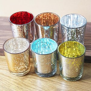 2021 Multicolor glass candlestick Color scented candle cup luminous candlestick Wedding Decor Starry Night Candle Holder GWA3770