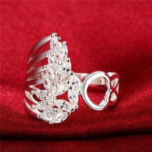 Womem's Flower Белый драгоценный камень Стерлинговые серебристые кольца Размер 7,8 DMSR680, подарок 925 серебряная пластина пальцев кольцо ювелирных колец