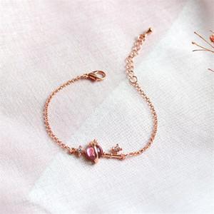 Fancy Pink Chamilia Beres Chiave Braccialetto Braccialetto Squisito Rosa Golden Hand Catena Catena Piccolo regalo per la fidanzata per ragazza donna G136