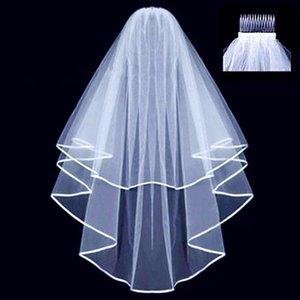 Два слоя вуаль гребень свадьба Vail сплошной цвет мягкий тюль завеса короткая белая птица женщина свадебные вуалии ВЕУ де NOIVA