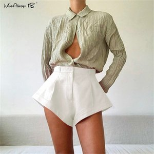 Mnealways18 Pink Mini Shorts Sexy High Tailled Taille Summer Summer Women's Shorts New Chic Casual Femme Habeau Short Shortwear 210304