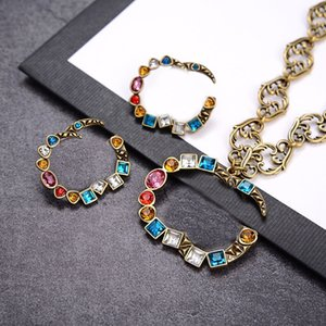 Vintage Colorful Diamond Necklaces Earrings Double Letters Designer Charm Earrings Studs Luxury Chain Necklaces Women Jewelry Sets Wholesale