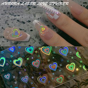 Nail Sticker Shiny Aurora Holographic Fluorescence Love Heart Flower Star Decals Art Decoration