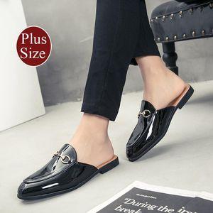 Dress Shoes Plus Size Summer Mens Unisex Women Leather Horsebit Slipper Breathable Comfortable Patent Sandals Loafers
