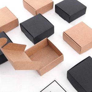 Pequena caixa de papel kraft caixa marrom handmade caixa de sabão DIY presente artesanato presente caixa boxblack embalagem jóias caixa