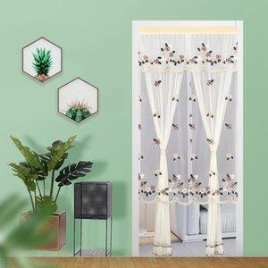 Vorhangdrapes Sommer Doppelschicht Spitzenlüftung Türbildschirme Anti-Moskitovorhänge dünn für Küche Wohnzimmer Dekor