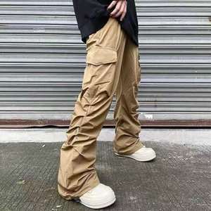 Pockets Casual Cargo Pants Men Straight Loose Overalls Hip Hop Couple Trousers