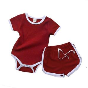 Jumpsuit nouveau-né Triangle à manches courtes HA Vêtements + pantalon chaud 2pcs / Set Baby Romper costume pur été bébé pyjamas OWB5239