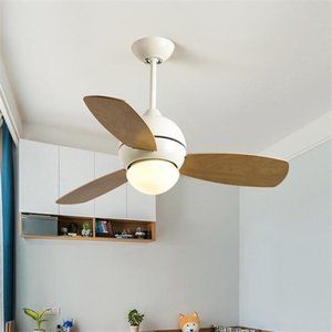 34 36 42 Inch Nordic Loft Macaron Led Ceiling Fan Lamp Creative Restaurant Living Room Ceiling Fan Light Fixtures Free Shipping