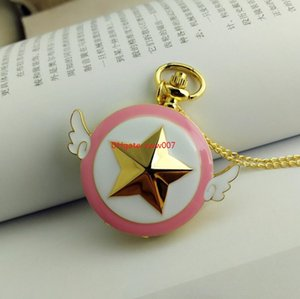 Topselling Golden five-pointed star pocket watch, round clamshell cartoon wings hanging watch pocket watch student necklace watch