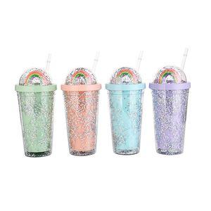Tazza d'acqua 19oz con cannucce Estate Doppio strati Plastica Coppa ghiacciata Plastica Carino arcobaleno nel succo dei coperchi latte tazza di paglia GWD4833