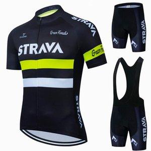Rennsets 2021 Strava Proteam Sommer Radfahren Jersey Set Fahrradkleidung Atmungsaktive Männer Kurzarm Hemd Fahrrad BIB Shorts 19d Gel Pad